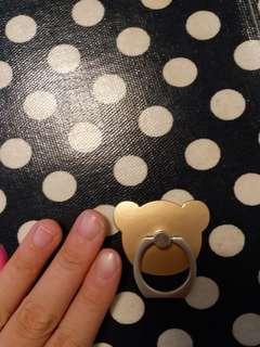 小熊香檳金指環扣座枱電話手機托