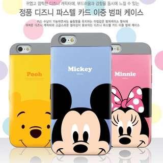 韓國正品米妮米奇蘋果8 plus iPhoneX卡通插卡防摔手機殼雙層殼