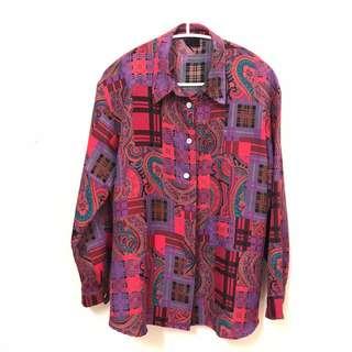 長袖紫紅塗鴉襯衫 古著