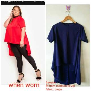 Long Back Blouse Navy