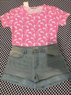 (FREE SF) Set Demin Shorts and Shirt