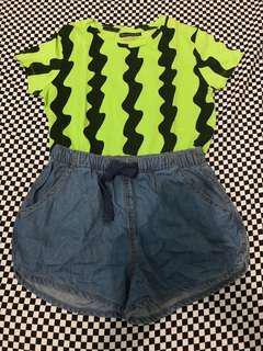 (FREE SF)Set Demin Shorts And Shirt
