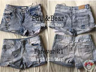 Set of Branded Distressed Denim Shorts