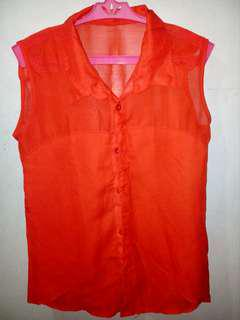 (Preloved) Red sleeveless see-through top