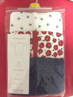 Mothercare floral and spotty sleepsuits - 3 pieces