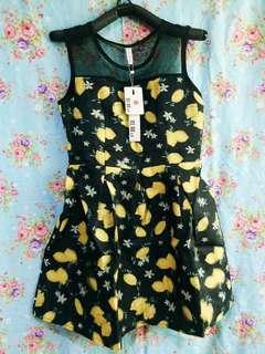 Black lemon 🍋 pattern dress 👗