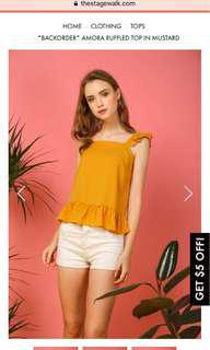 🚚 TSW AMORA RUFFLED TOP IN MUSTARD