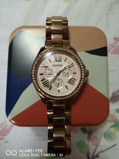 Preloved Fossil rose gold watch with swarovski