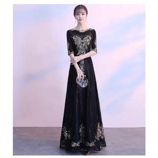 Gown Collection - Black Cross Golden Mid Length Sleeves Noble Gown