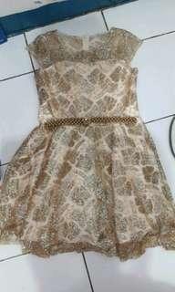 Dress  pesta gold blink