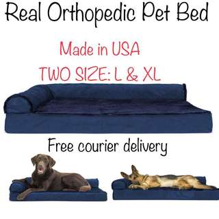 Made in USA FurHaven Deluxe Orthopedic Chaise Dog Couch - Pet Bed for Cats and Dogs, Two Sided Velvet - Sapphire