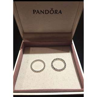 2 like new Pandora sterling silver rings sz 7.5
