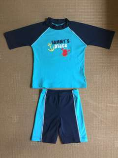 (6-8 yrs) TCM Rash Guard with matching swim shorts