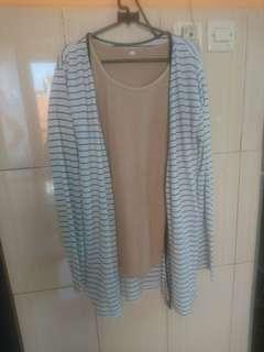 Outer cardigan stripe white