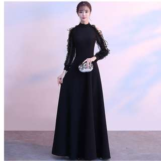 Gown Collection - Special Black Lace Sleeves Design Dinner Gown