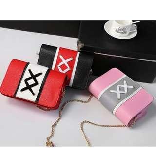 韓版熱賣拼色交叉絲帶金屬鏈小手袋
