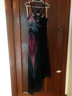 Karen Miller long embellished silk dress - size 6-8
