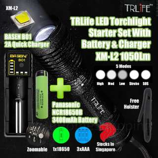 TRLife 1050Lm XM-L2 Ultra Bright LED Cree Torch Light Starter Set With Charger & Battery (Free Holster)