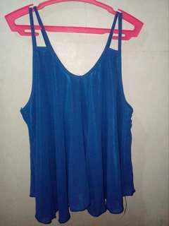 (Pre-loved) Blue chiffon sleeveless top