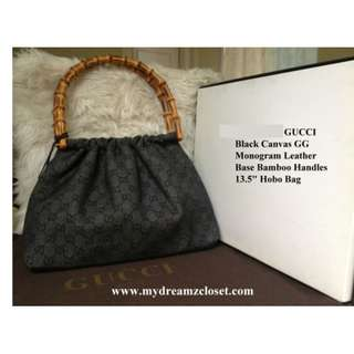 GUCCI Hitam Canvas GG Monogram Kulit Basis Bambu Menangani 13,5 Hobo Bag