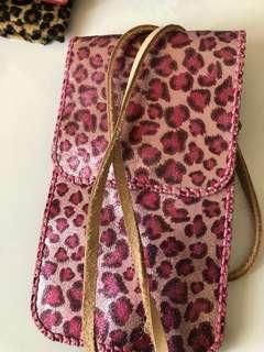 全真皮 粉色 豹紋 袋仔 小包