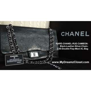 RARE-CHANEL-RUE-CAMBON-Black-Leather-Silver-Chain-2-55-Double-Flap-Maxi-XL-Bag