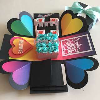 Explosion box with gift box , 4 waterfall in black , white and colourful