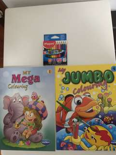 Kids colouring set- 2 big books (150 & 160pages) & pencil colours