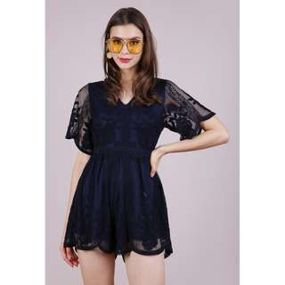 TTR - Miki Mesh Embroidery Romper (M Size / Navy)