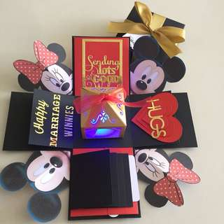 Mickey explosion box with lighthouse , 4 waterfall in black , red and gold