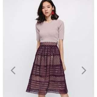 🚚 Love Bonito Rondea Crochet Midi Skirt