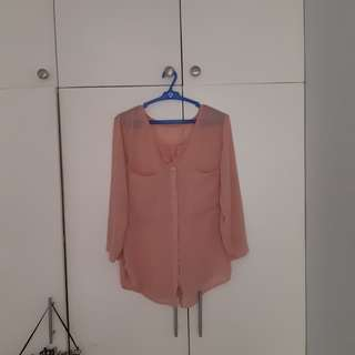 Pastel pink sheer long sleeves button down