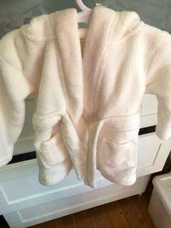 Baby white/cream dressing gown 0-3 months