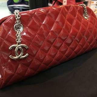 Chanel 菱格漆皮鍊袋 紅色