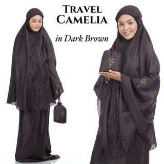 🚚 Telekung Travel Camelia (Dark Brown)