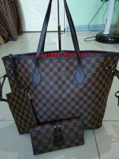 Louis vuitton bag , wallet and wristlet set