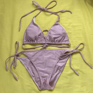 Zaful MILLENIAL PINK STRING BIKINI SET