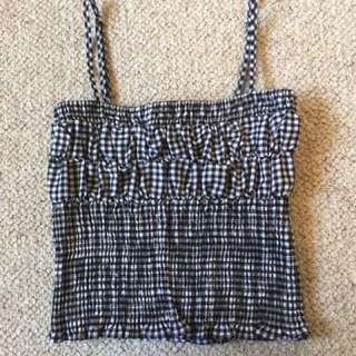 XS Stretchy Gingham Crop Top