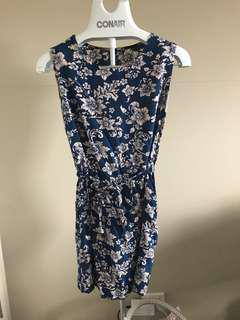 Naval blue floral dress