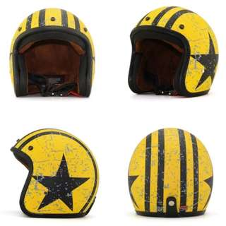 Yellow with Black Racing Stripes Star Motorcycle Helmet Open Face Three Button Snap Retro Vespa Scooter Motorbike Leather Gloss Sparkle Glitter Matte Old School Bike