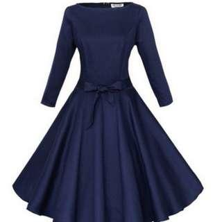 [ Preloved ] Elegant Half Sleeve Fit & Flare Dress - Dark Blue color