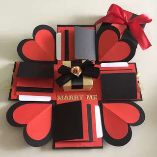 Diy explosion box with gift box , 16 waterfall in black , gold and red