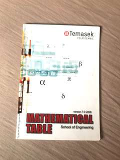 Temasek Polytechnic Mathematical Table (School of Engineering)