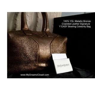 100% YSL Metallic Bronze Crackled Leather Signature Y MUDAH Bowling Celebrity Bag