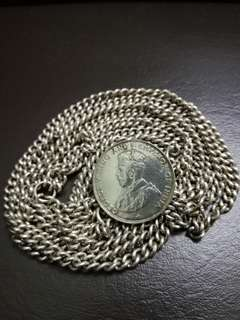 Chain type silver belt with Straits Settlement 50cents coin