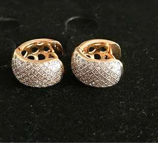 18k gold plated zirconium hoops earrings