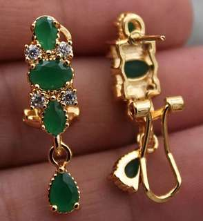 18k gold plated emerald earrings