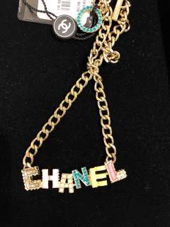 Chanel logo tag necklace