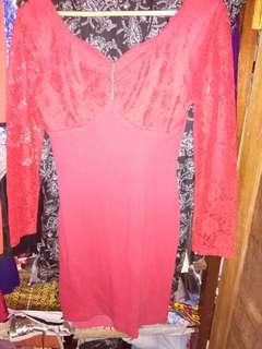 Sexy Dress Brokat Merah Cabe
