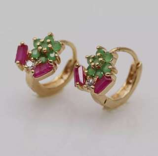 18k gold plated gemstone small hoops earrings 10 cents are for size reference